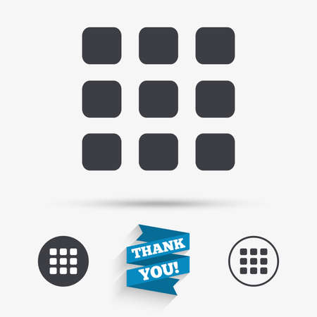 thumbnails: Thumbnails grid sign icon. Gallery view option symbol. Flat icons. Buttons with icons. Thank you ribbon. Vector Illustration