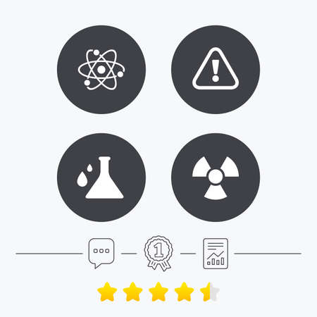 caution chemistry: Attention and radiation icons. Chemistry flask sign. Atom symbol. Chat, award medal and report linear icons. Star vote ranking. Vector