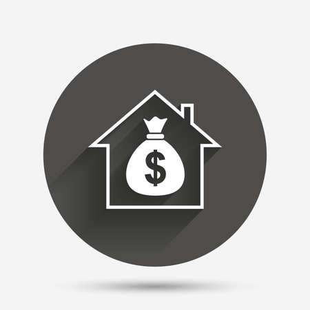 loans: Mortgage sign icon. Real estate symbol. Bank loans. Circle flat button with shadow. Vector Illustration