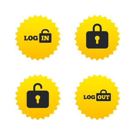 Login and Logout icons. Sign in or Sign out symbols. Lock icon. Yellow stars labels with flat icons. Vector