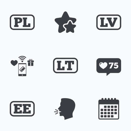 lt: Language icons. PL, LV, LT and EE translation symbols. Poland, Latvia, Lithuania and Estonia languages. Flat talking head, calendar icons. Stars, like counter icons. Vector