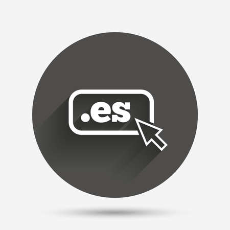vector es: Domain ES sign icon. Top-level internet domain symbol with cursor pointer. Circle flat button with shadow. Vector