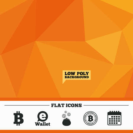 p2p: Triangular low poly orange background. Bitcoin icons. Electronic wallet sign. Cash money symbol. Calendar flat icon. Vector Illustration