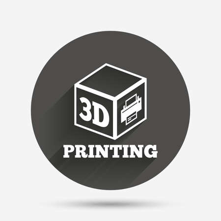 additive manufacturing: 3D Print sign icon. 3d cube Printing symbol. Additive manufacturing. Circle flat button with shadow. Vector