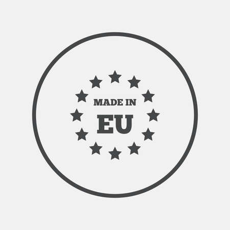 import trade: Made in EU icon. Export production symbol. Product created in European Union sign. Round button with flat icon. Vector
