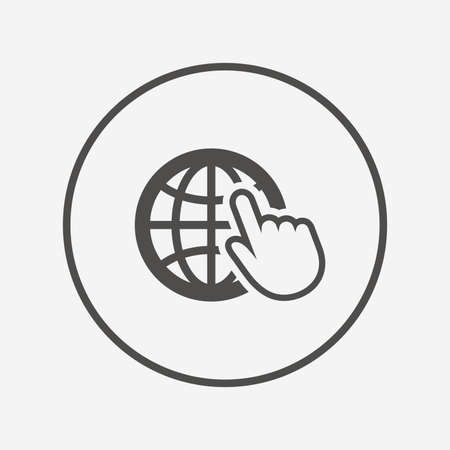 Internet sign icon. World wide web symbol. Flat internet icon. Simple design internet symbol. Internet graphic element. Round button with flat internet icon. Vector Vettoriali