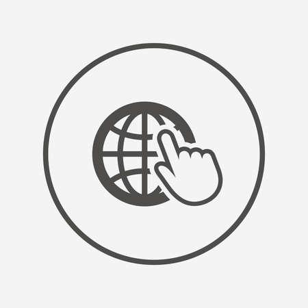 icono de señal de internet. Mundo wide web símbolo. icono internet plana. símbolo de diseño web simple. elemento gráfico internet. Botón redondo con el icono de Internet plana. Vector