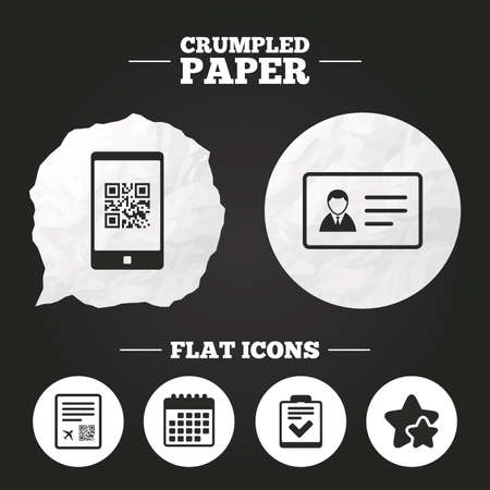 scan paper: Crumpled paper speech bubble. QR scan code in smartphone icon. Boarding pass flight sign. ID card badge symbol. Check or tick sign. Paper button. Vector Illustration