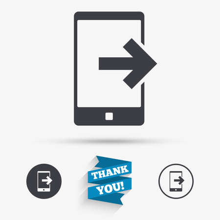 outcoming: Outcoming call sign icon. Smartphone symbol. Flat icons. Buttons with icons. Thank you ribbon. Vector