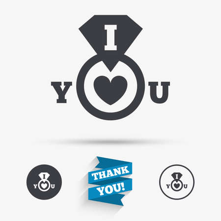 i love you sign: I Love you sign icon. Valentines day symbol. Flat icons. Buttons with icons. Thank you ribbon. Vector Illustration