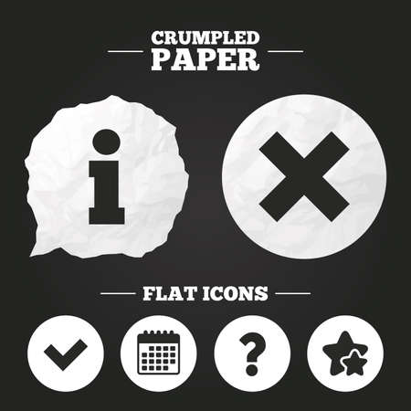 deny: Crumpled paper speech bubble. Information icons. Delete and question FAQ mark signs. Approved check mark symbol. Paper button. Vector