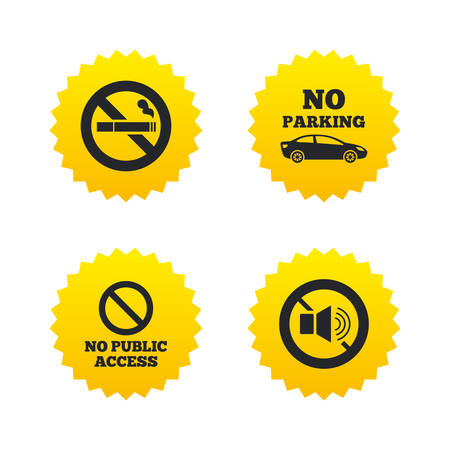 private access: Stop smoking and no sound signs. Private territory parking or public access. Cigarette symbol. Speaker volume. Yellow stars labels with flat icons. Vector