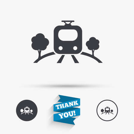 metro train: Overground subway sign icon. Metro train symbol. Flat icons. Buttons with icons. Thank you ribbon. Vector