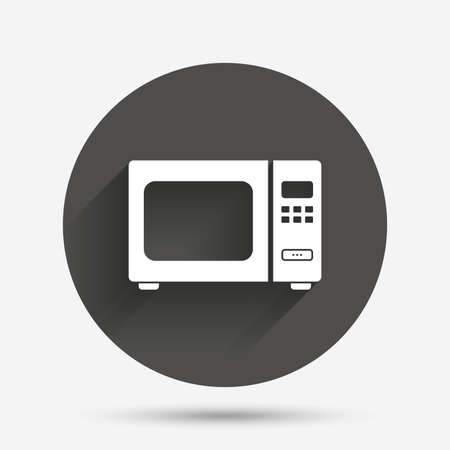electric stove: Microwave oven sign icon. Kitchen electric stove symbol. Circle flat button with shadow. Vector