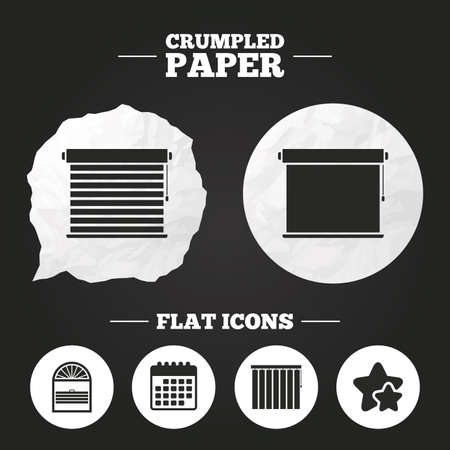 roll curtains: Crumpled paper speech bubble. Louvers icons. Plisse, rolls, vertical and horizontal. Window blinds or jalousie symbols. Paper button. Vector Illustration