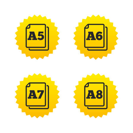 a7: Paper size standard icons. Document symbols. A5, A6, A7 and A8 page signs. Yellow stars labels with flat icons. Vector Illustration