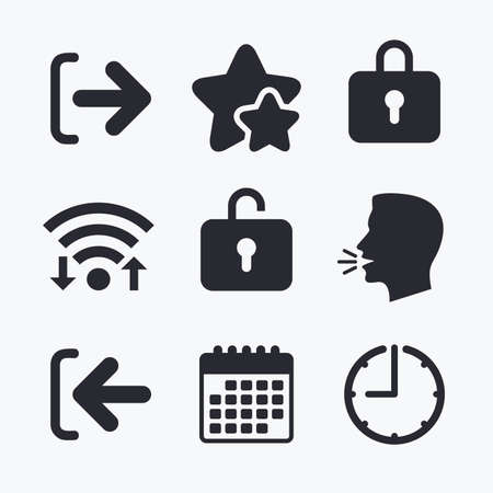 lock out: Login and Logout icons. Sign in or Sign out symbols. Lock icon. Wifi internet, favorite stars, calendar and clock. Talking head. Vector