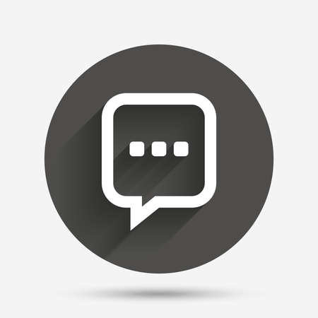 three dots: Chat sign icon. Speech bubble with three dots symbol. Communication chat bubble. Circle flat button with shadow. Vector Illustration