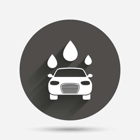 automated teller: Car wash icon. Automated teller carwash symbol. Water drops signs. Circle flat button with shadow. Vector