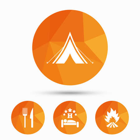 breakfast in bed: Food, sleep, camping tent and fire icons. Knife and fork. Hotel or bed and breakfast. Road signs. Triangular low poly buttons with shadow. Vector