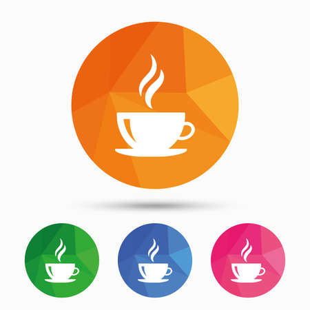 Coffee cup sign icon. Hot coffee button. Hot tea drink with steam. Triangular low poly button with flat icon. Vector 向量圖像