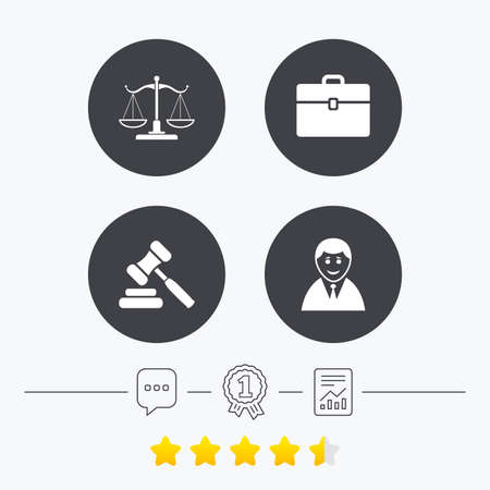 law report: Scales of Justice icon. Client or Lawyer symbol. Auction hammer sign. Law judge gavel. Court of law. Chat, award medal and report linear icons. Star vote ranking. Vector