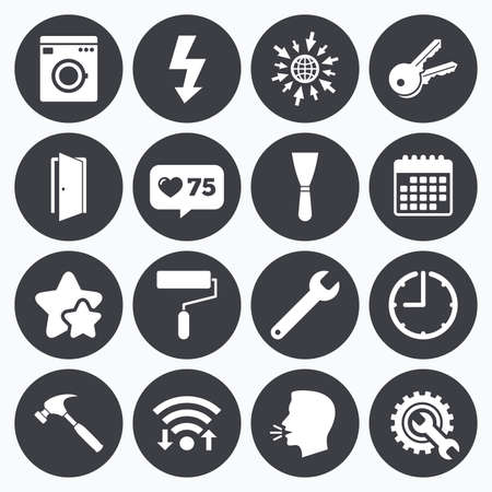 Calendar, wifi and clock symbols. Like counter, stars symbols. Repair, construction icons. Electricity, keys and hammer signs. Door, washing machine and service symbols. Talking head, go to web symbols. Vector