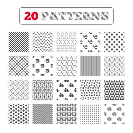 rang: Ornament patterns, diagonal stripes and stars. Group of people and share icons. Speech bubble and round the world arrow symbols. Communication signs. Geometric textures. Vector Illustration