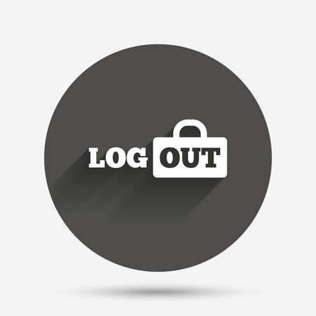 sign out: Logout sign icon. Sign out symbol. Lock icon. Circle flat button with shadow. Vector Illustration
