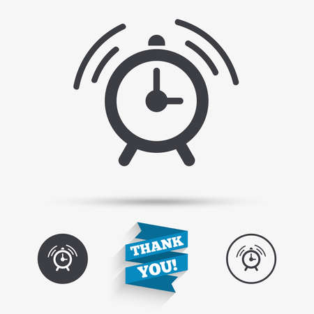 alert ribbon: Alarm clock sign icon. Wake up alarm symbol. Flat icons. Buttons with icons. Thank you ribbon. Vector