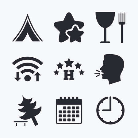 break down: Food, hotel, camping tent and tree icons. Wineglass and fork. Break down tree. Road signs. Wifi internet, favorite stars, calendar and clock. Talking head. Vector