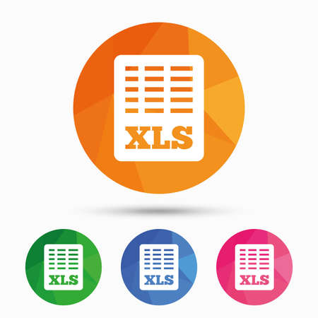 excel: Excel file document icon. Download xls button. XLS file symbol. Triangular low poly button with flat icon. Vector
