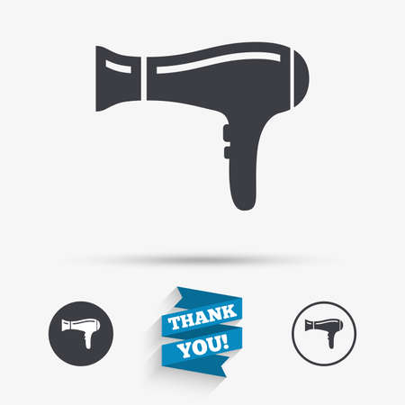 blow drying: Hairdryer sign icon. Hair drying symbol. Flat icons. Buttons with icons. Thank you ribbon. Vector