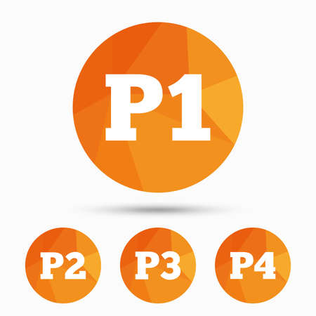Car parking icons. First, second, third and four floor signs. P1, P2, P3 and P4 symbols. Triangular low poly buttons with shadow. Vector Illustration