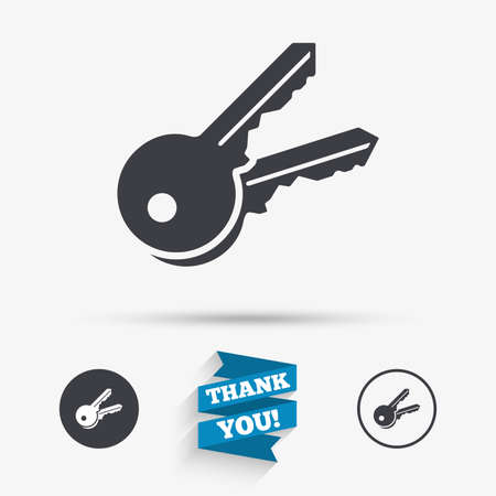 tool unlock: Keys sign icon. Unlock tool symbol. Flat icons. Buttons with icons. Thank you ribbon. Vector