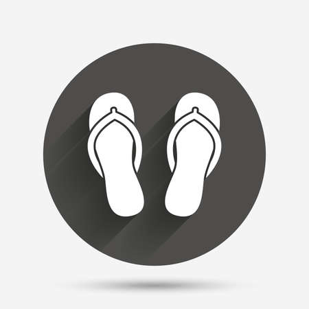 sandals: Flip-flops sign icon. Beach shoes. Sand sandals. Circle flat button with shadow. Vector
