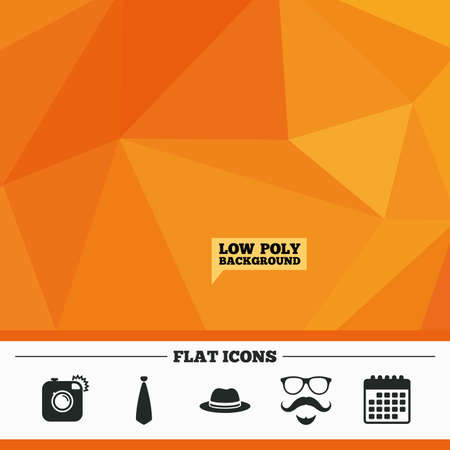 triangular eyes: Triangular low poly orange background. Hipster photo camera. Mustache with beard icon. Glasses and tie symbols. Classic hat headdress sign. Calendar flat icon. Vector