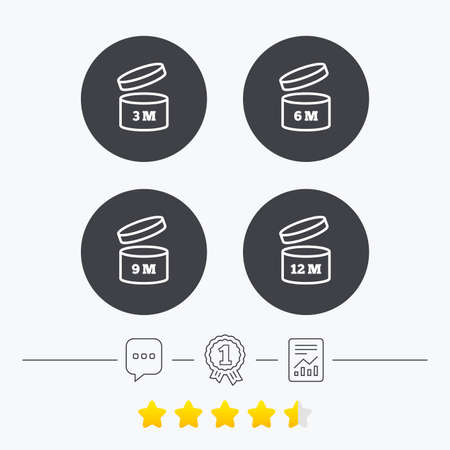 6 9 months: After opening use icons. Expiration date 6-12 months of product signs symbols. Shelf life of grocery item. Chat, award medal and report linear icons. Star vote ranking. Vector
