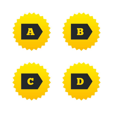 d offer: Energy efficiency class icons. Energy consumption sign symbols. Class A, B, C and D. Yellow stars labels with flat icons. Vector