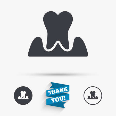 gingivitis: Parodontosis tooth icon. Gingivitis sign. Inflammation of gums symbol. Flat icons. Buttons with icons. Thank you ribbon. Vector Illustration