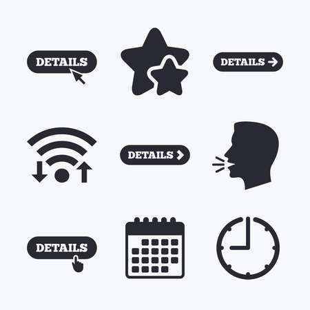 time specification: Details with arrow icon. More symbol with mouse and hand cursor pointer sign symbols. Wifi internet, favorite stars, calendar and clock. Talking head. Vector