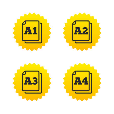 a1: Paper size standard icons. Document symbols. A1, A2, A3 and A4 page signs. Yellow stars labels with flat icons. Vector