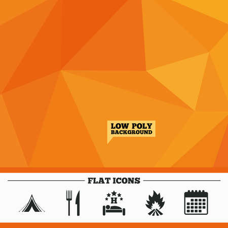 breakfast in bed: Triangular low poly orange background. Food, sleep, camping tent and fire icons. Knife and fork. Hotel or bed and breakfast. Road signs. Calendar flat icon. Vector