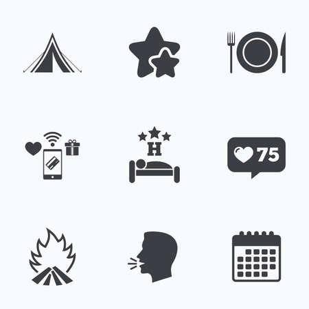 breakfast in bed: Food, sleep, camping tent and fire icons. Knife, fork and dish. Hotel or bed and breakfast. Road signs. Flat talking head, calendar icons. Stars, like counter icons. Vector