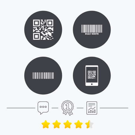 barcode scan: Bar and Qr code icons. Scan barcode in smartphone symbols. Chat, award medal and report linear icons. Star vote ranking. Vector