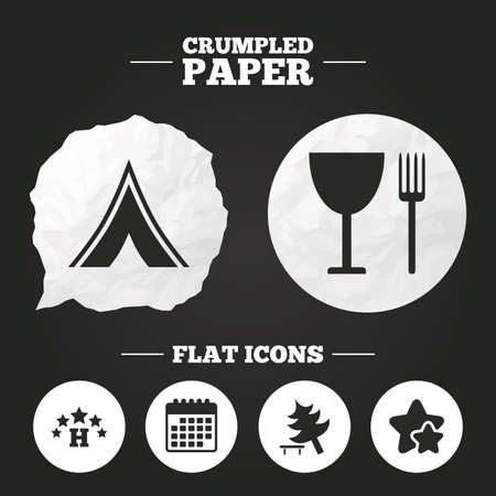 break down: Crumpled paper speech bubble. Food, hotel, camping tent and tree icons. Wineglass and fork. Break down tree. Road signs. Paper button. Vector