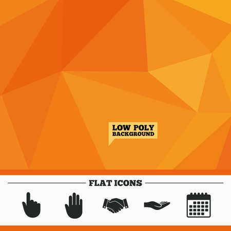 date palm: Triangular low poly orange background. Hand icons. Handshake successful business symbol. Click here press sign. Human helping donation hand. Calendar flat icon. Vector Illustration