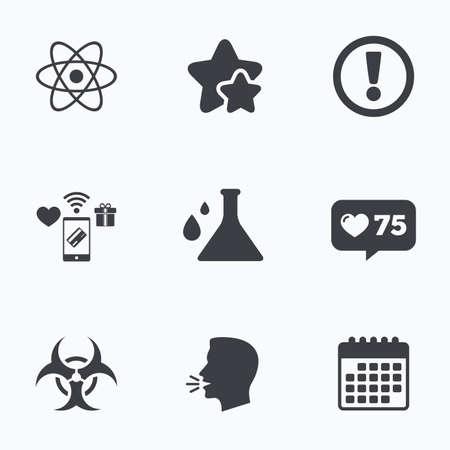 riesgo biologico: Atención y de riesgo biológico iconos. signo frasco de la química. Símbolo del átomo. busto parlante plana, iconos de calendario. Las estrellas, como iconos de venta libre. Vector