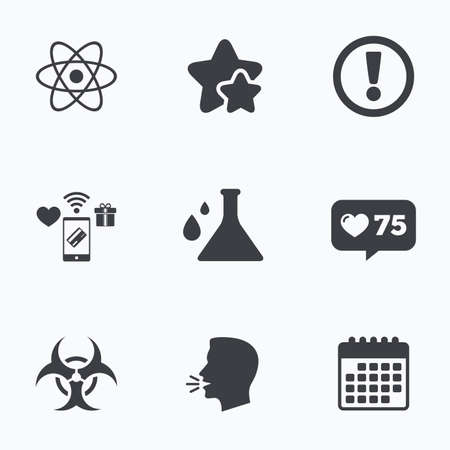 Attention and biohazard icons. Chemistry flask sign. Atom symbol. Flat talking head, calendar icons. Stars, like counter icons. Vector Illustration