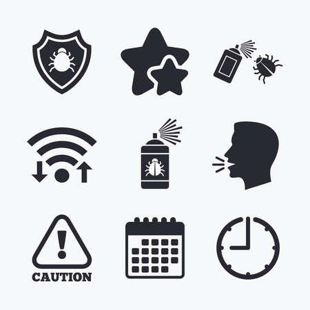 fumigation: Bug disinfection icons. Caution attention and shield symbols. Insect fumigation spray sign. Wifi internet, favorite stars, calendar and clock. Talking head. Vector Illustration